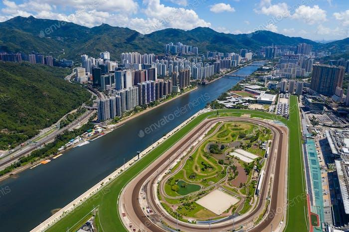 Sha Tin, Hong Kong 23 June 2020: Top view of race course