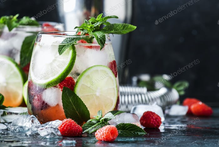 Himbeer-Mojito Limonade mit Limette