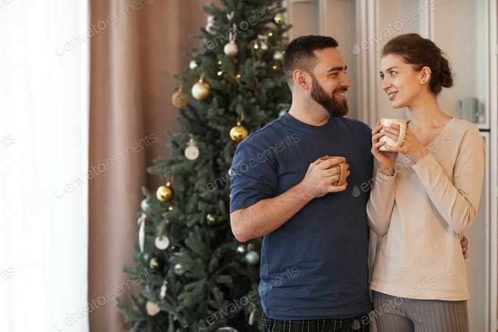 Drinking Coffee Together In New Year Morning