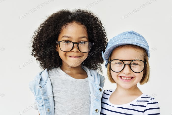 Adorable Sisterhood Smiling Fashion Concept
