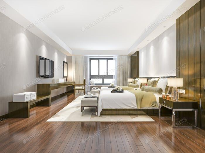 3d rendering luxury tropical bedroom suite in resort hotel and resort with twin bed