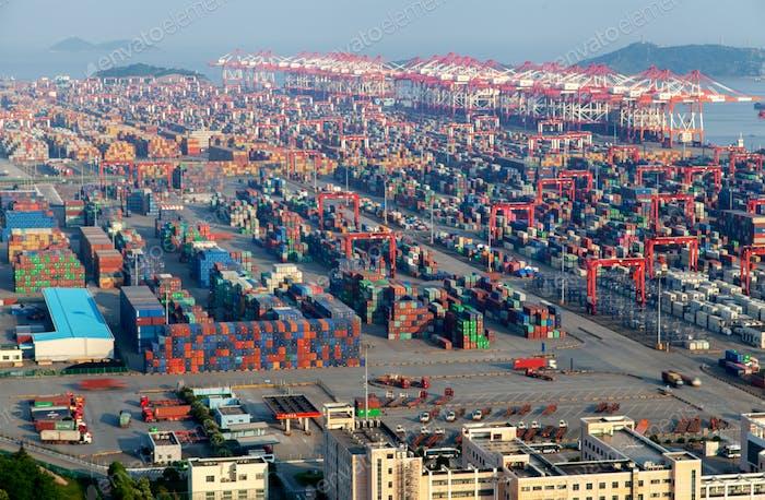 Chinesische Container in Yangshan Hafen in Shanghai
