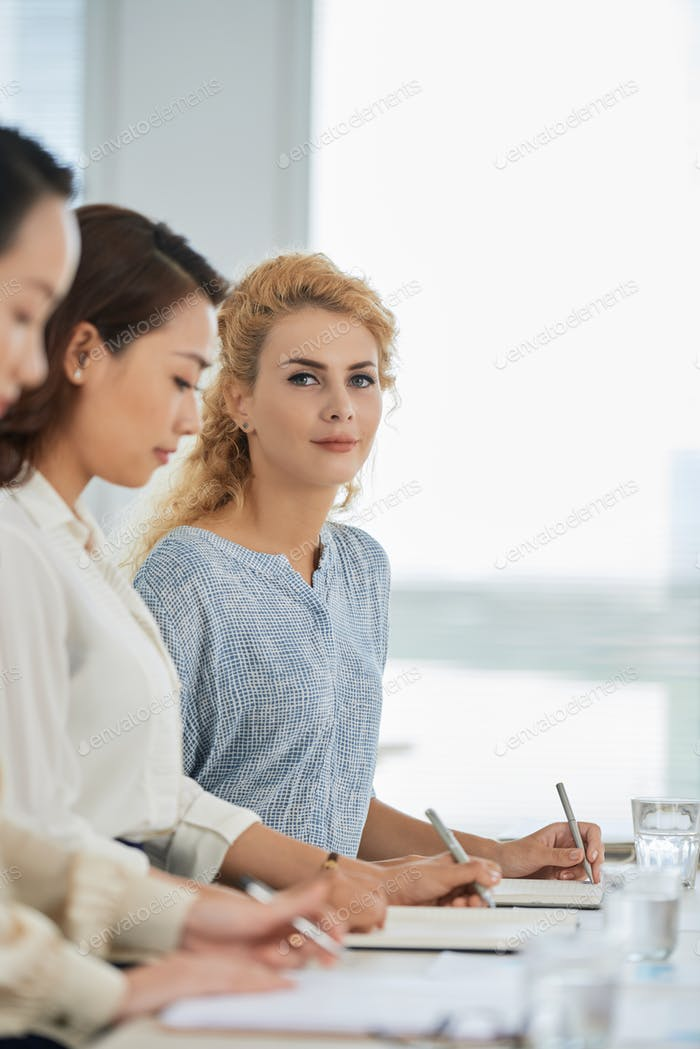 Attending business training