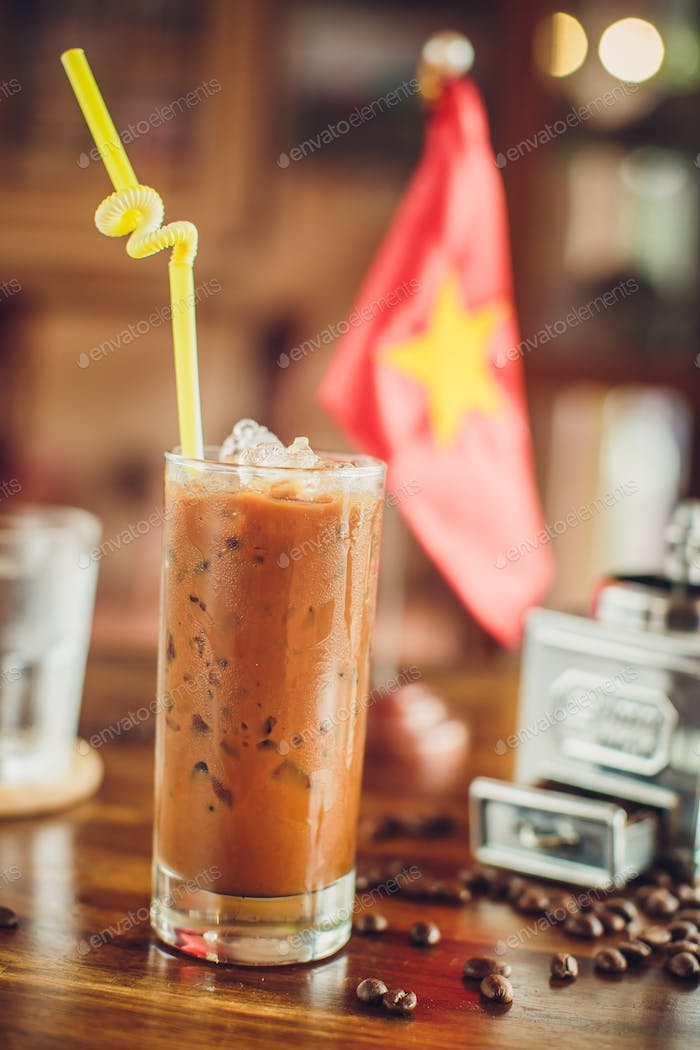 Vietnamese ice coffee with coffee beans