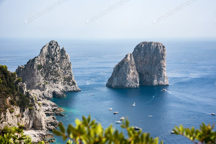 Aerial view of Faraglioni rocks at Capri Island
