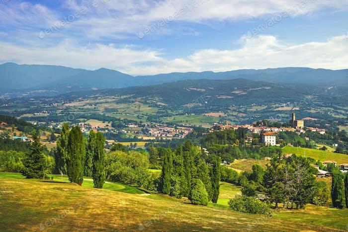 Poppi medieval village panoramic view. Casentino Arezzo, Tuscany Italy