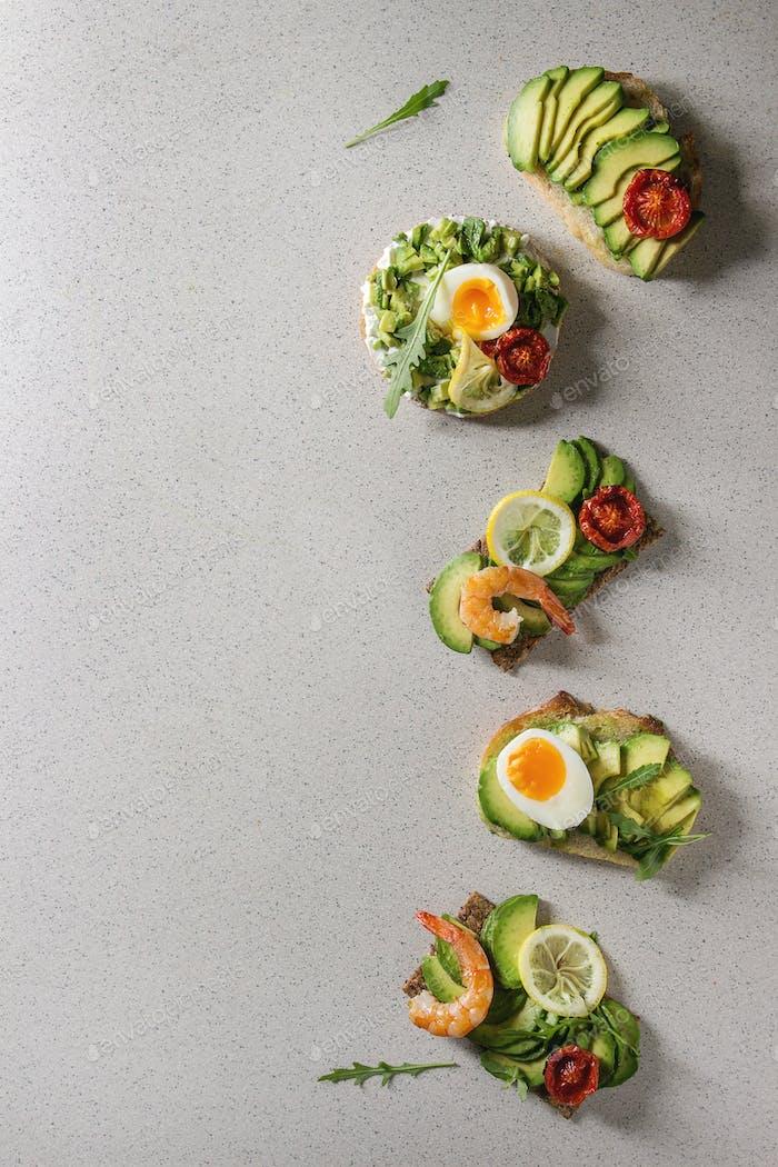 Variety of avocado sandwiches