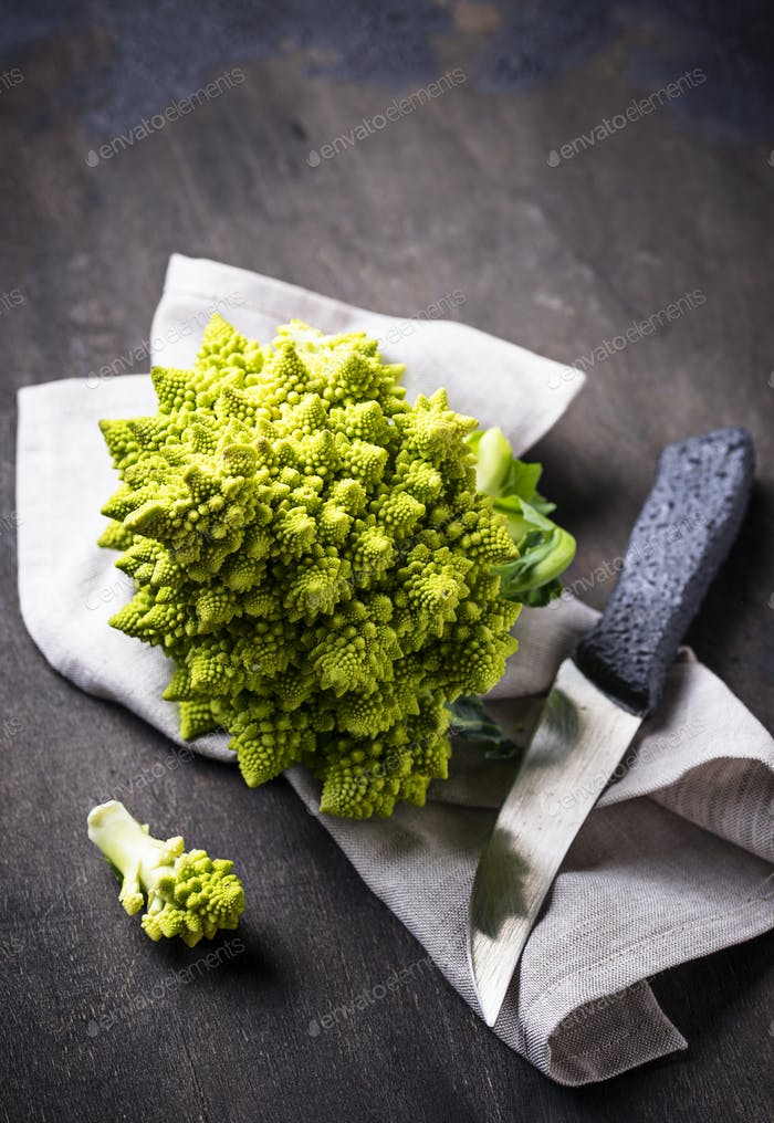 Romanesco broccoli on dark background