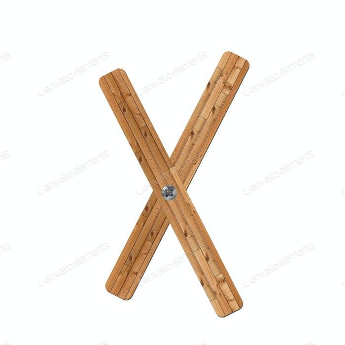 wooden alphabet - letter X on white background