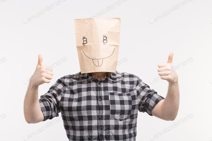 Men wearing funny paper mask with thumbs up and bitcoin symbol