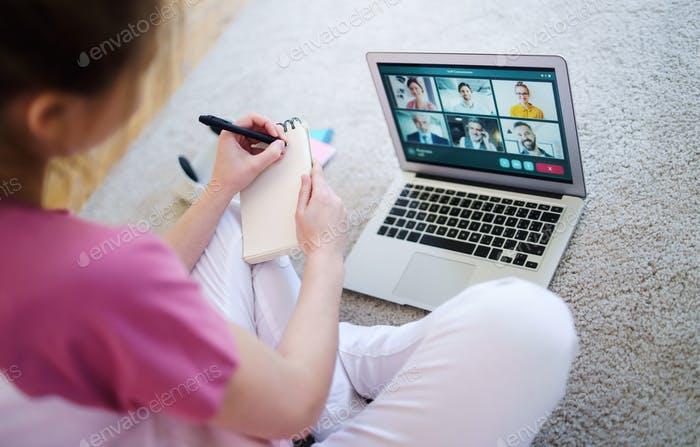 Unrecognizable young woman with laptop, online business call concept