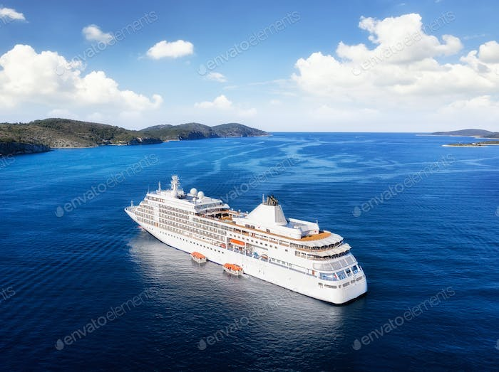 Aerial view of the cruise liner from drone. Croatia