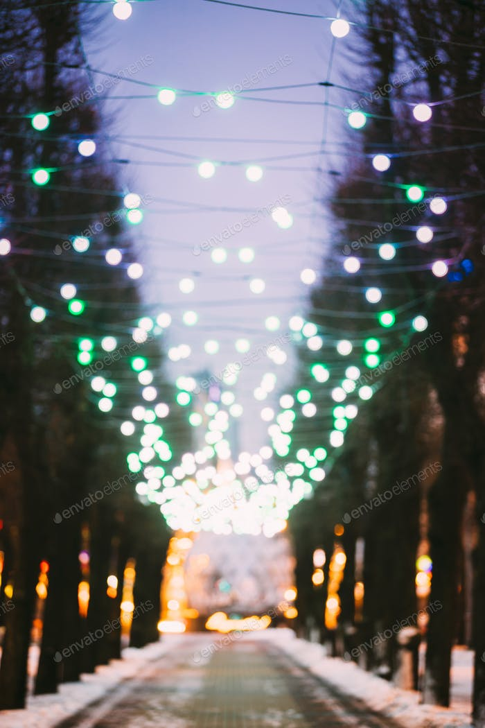 Riga, Latvia. Abstract Blurred Bokeh Boke Background Of Evening
