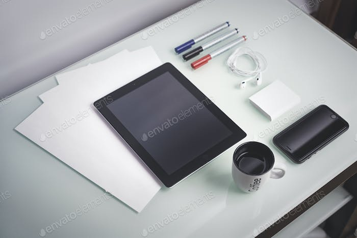 smartphone and tablet on a table concept for Web coffee a businessman's workplace