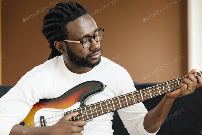 Artist producing music.