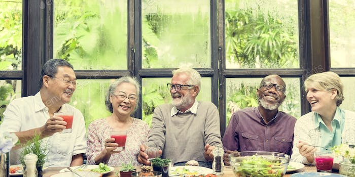 Senior Group Relax Lifestyle Dining Concept