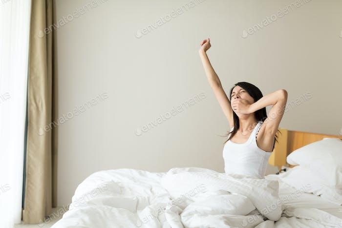 Woman wake up and yelling at morning