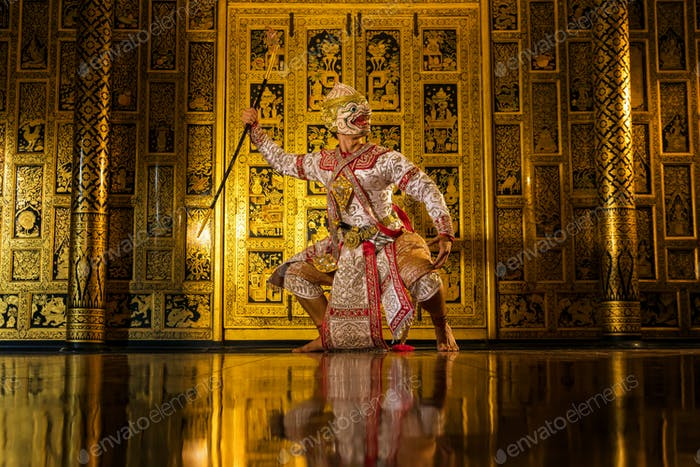 Khon, pantomime performances action of Thailand, a kind of Thai drama at Ayutthaya temple,