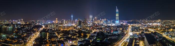 Beautiful City of Kuala Lumpur panorama at night Malaysia
