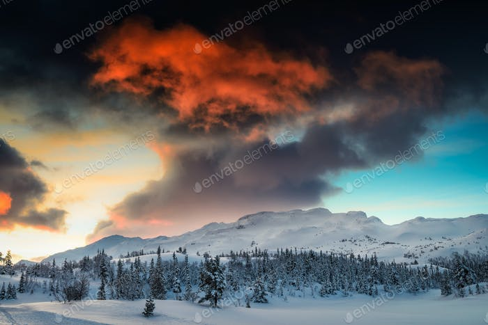A fiery mountain sunrise in Norway