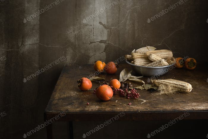still life of fruit and vegetables