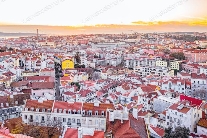 Colorful top view on Lisbon, Portugal
