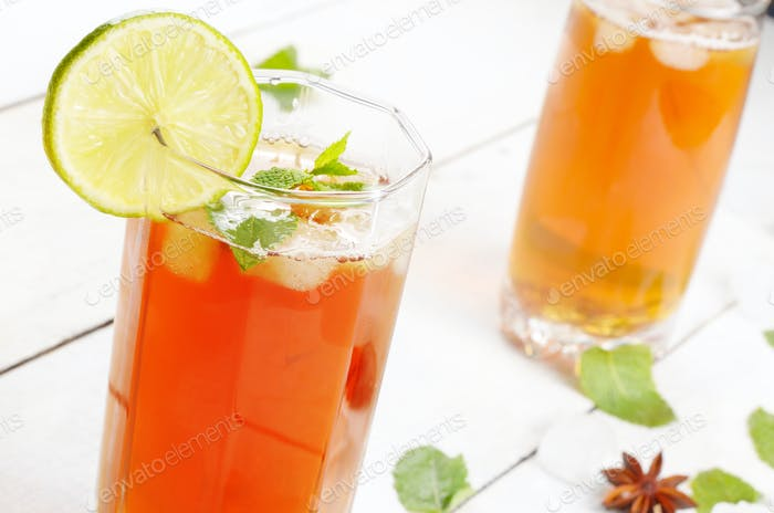 Lime and mint Fruit beer with ice