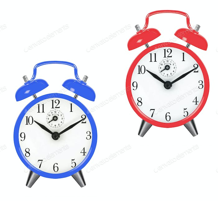 Old fashioned alarm clocks
