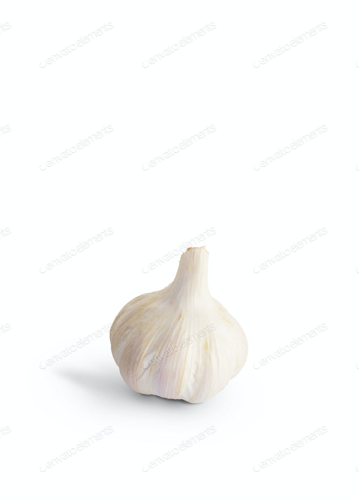 Fresh garlic isolated on white background with shadow