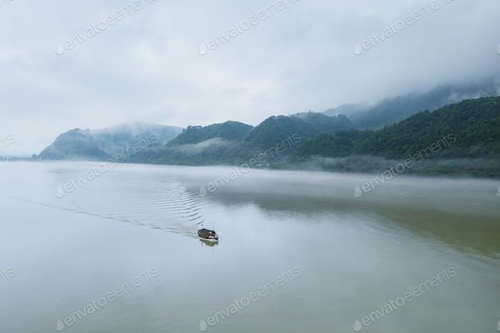 aerial view of beautiful fuchun river after rain