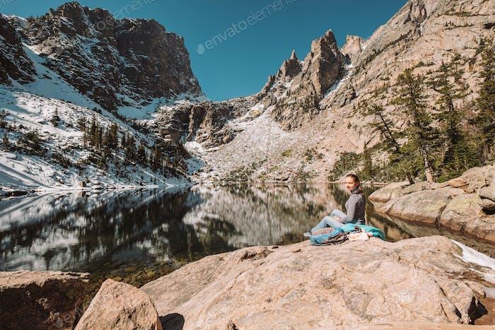 Tourist near Emerald Lake in Colorado