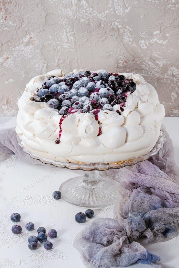 Meringue cake Pavlova with blueberries