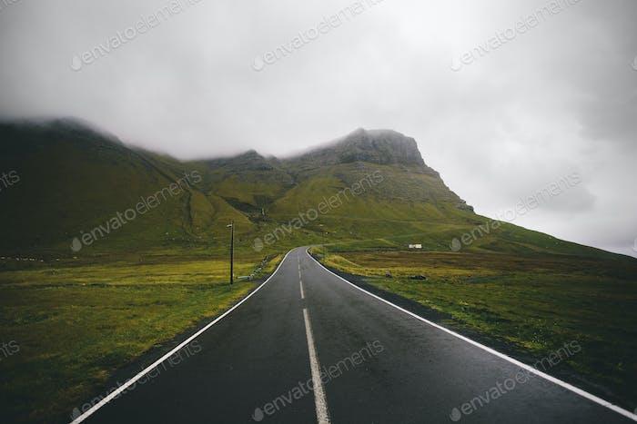 Mountain Road In Faroe Islands