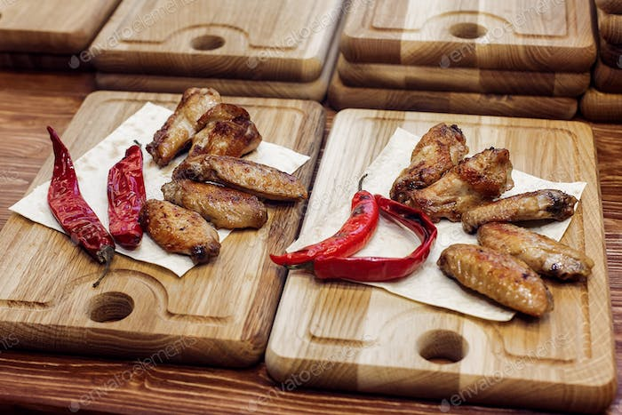 Juicy chicken grilled steak with red pepper