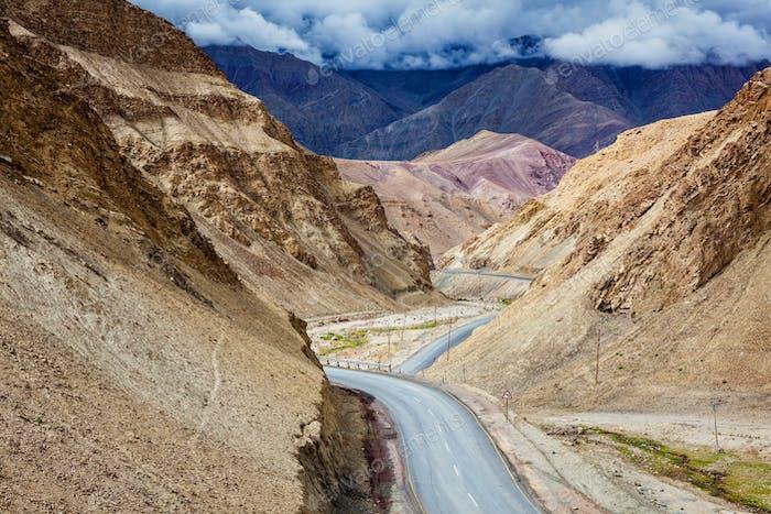 Srinagar Leh national highway NH-1 in Himalayas. Ladakh, India