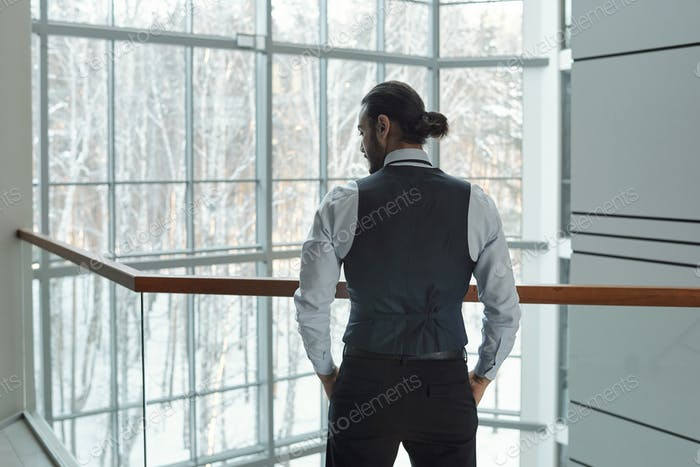 Rear view of young elegant businessman in formalwear keeping hands in pockets
