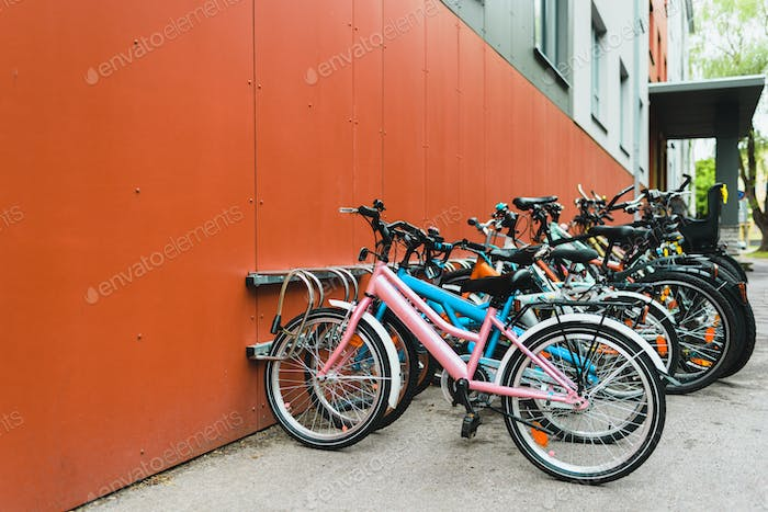 A lot of bicycles on parking