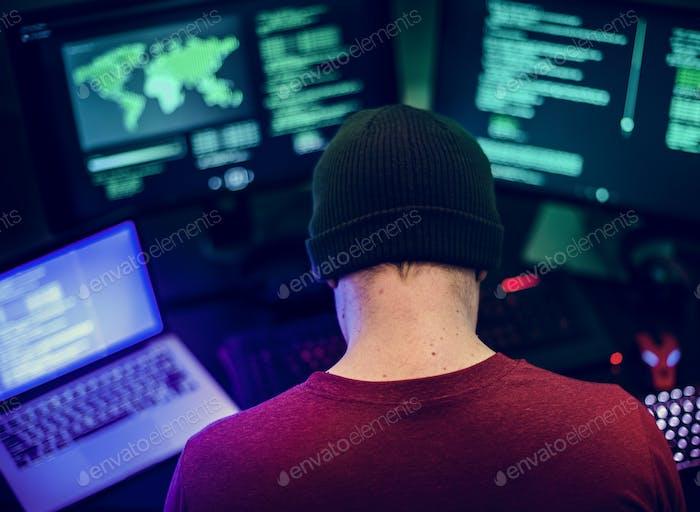 Caucasian man working on coding