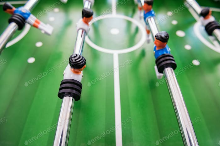 Close up plastic table football game at entertainment center