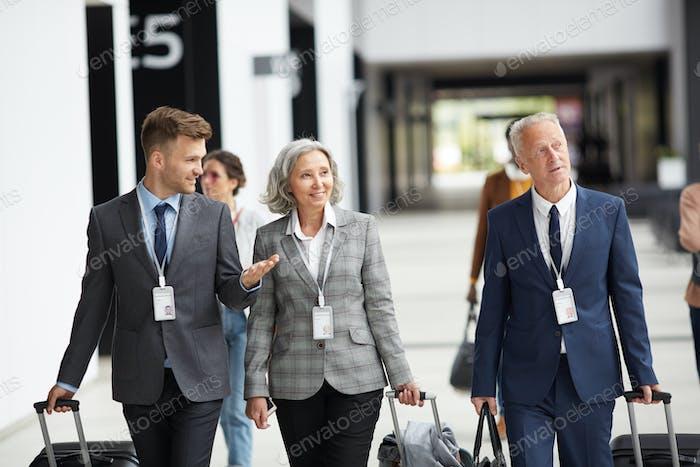 Business representatives arriving at global forum