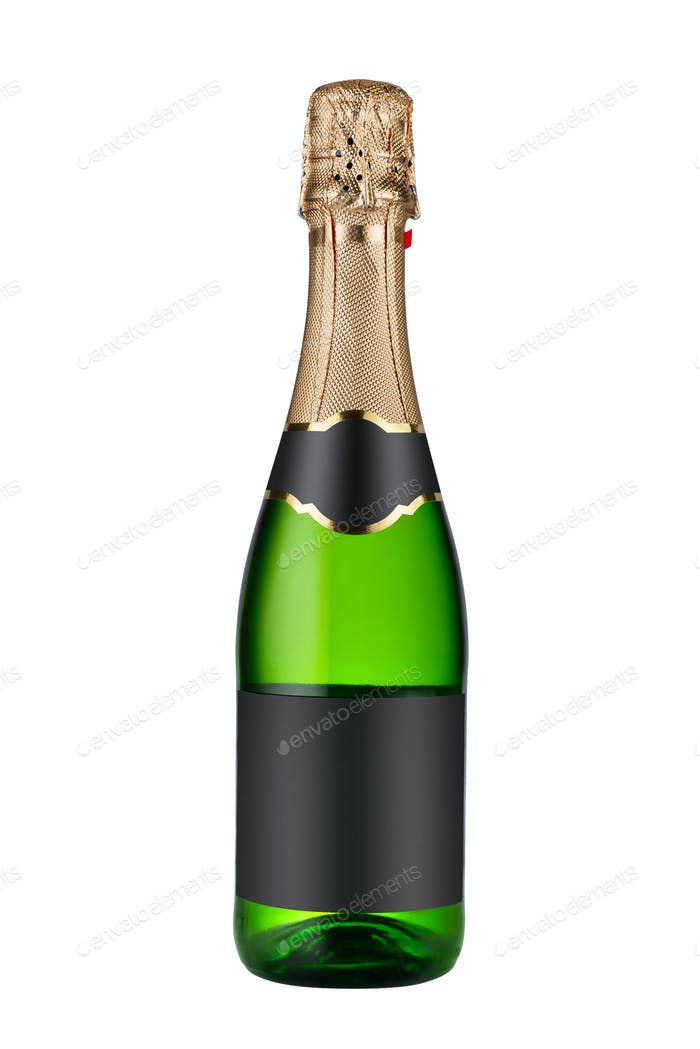 Closed bottle of champagne wine isolated