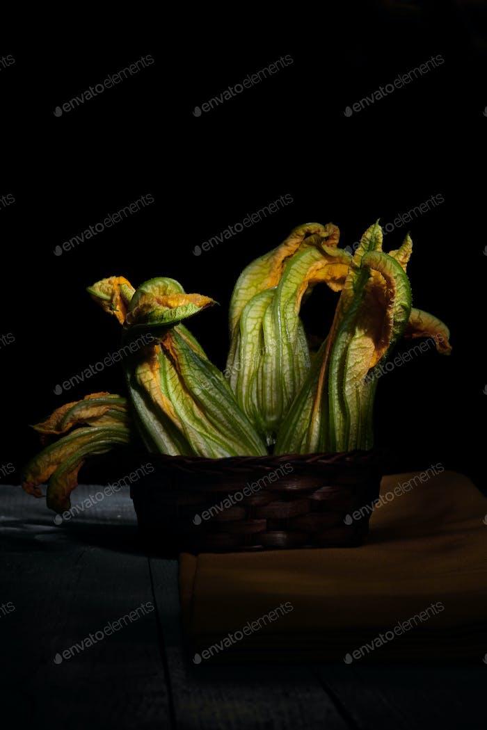 Raw Zucchini Flowers