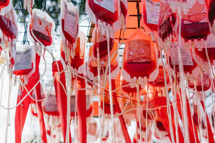 Half empty blood bags, close angle