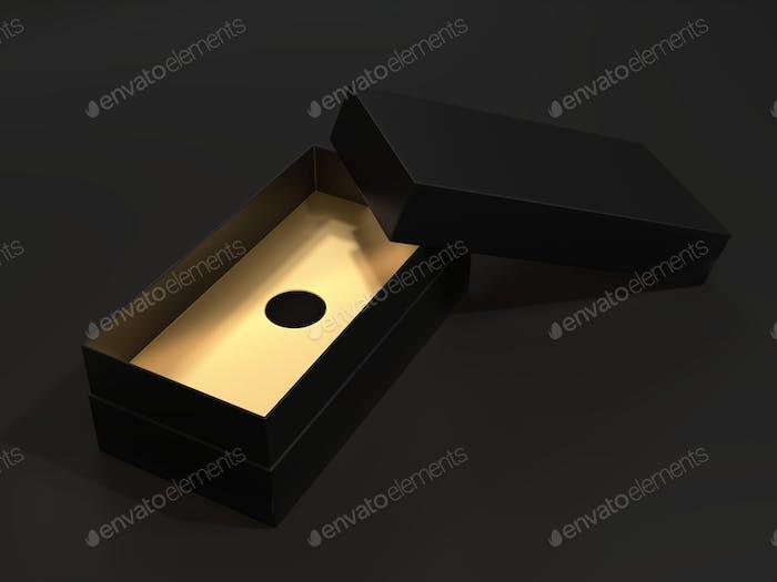 Black blank cardboard box on a dark background. Mock up template.