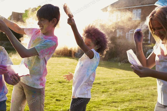 Children Celebrating Holi Festival With Paint Party
