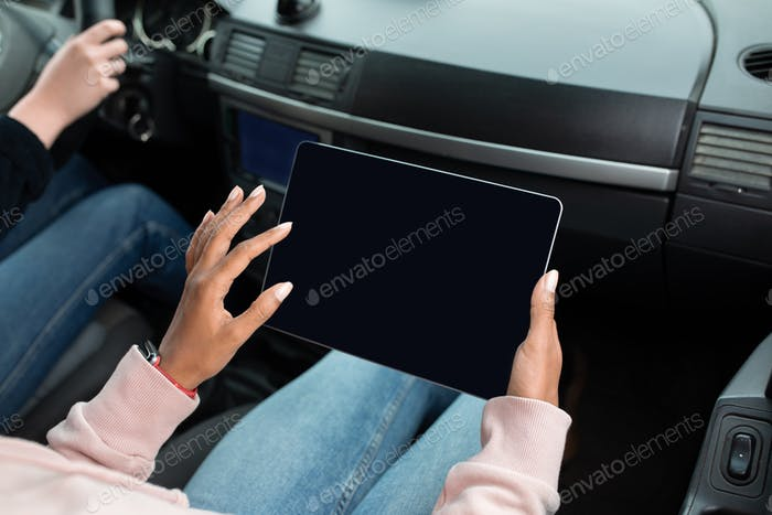 Business woman, freelancer or blogger in passenger seat or work
