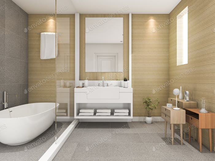 3d rendering beige wood bathroom with light from window