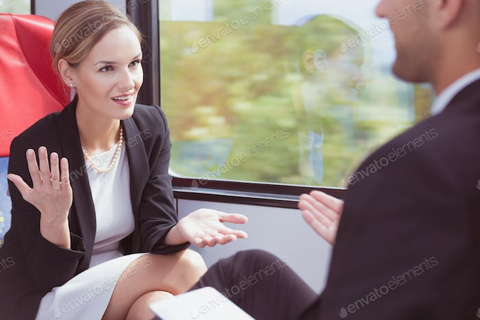 Woman talking in the train