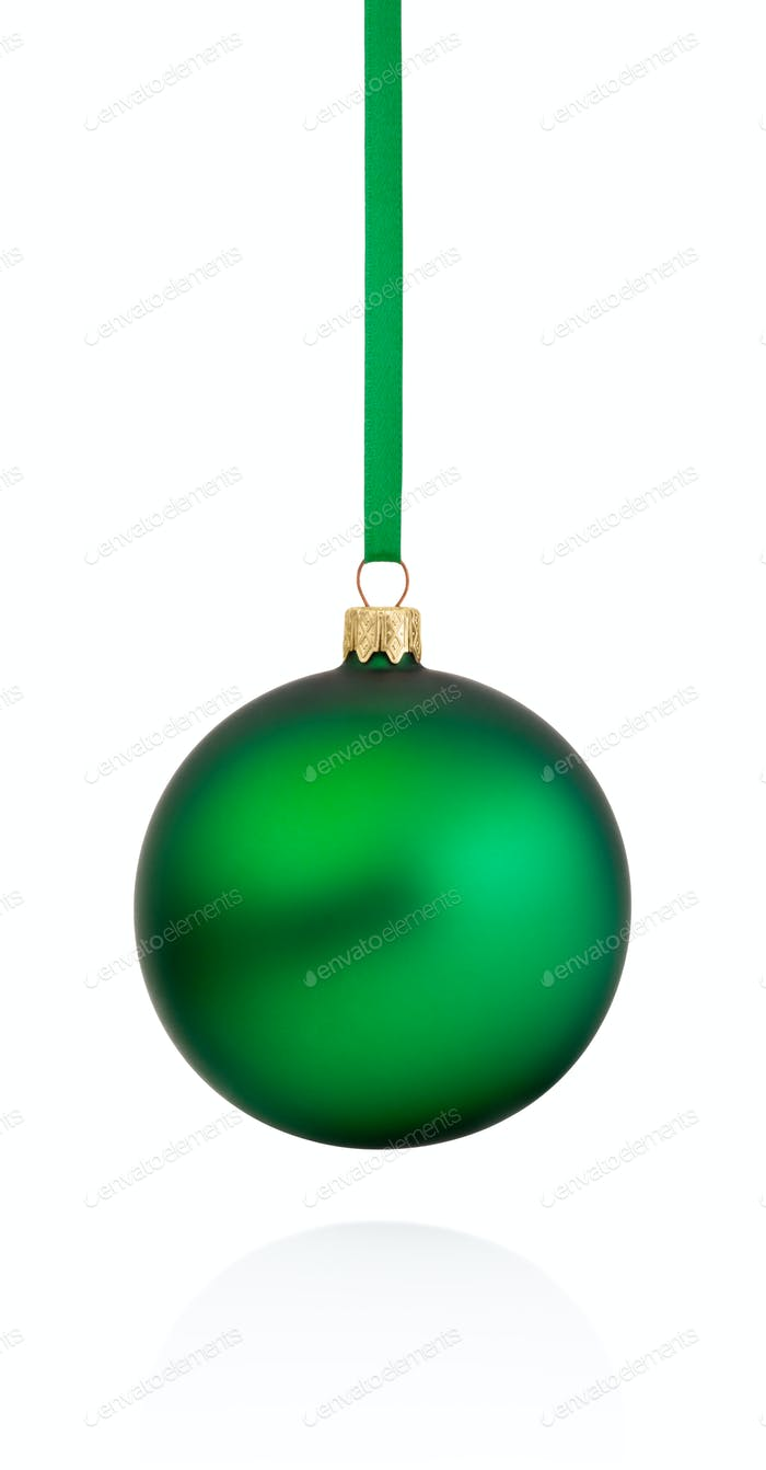 Green Christmas bauble hanging on ribbon Isolated on white backg