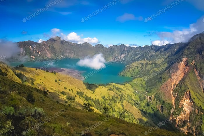View of the caldera of Gunung Rinjani volcano